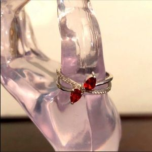 Fragrant Jewels Double Ruby & Cubic Zirconia Ring
